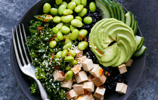 Forbidden Rice Buddha Bowls with Kale, Tofu, and Sesame Sriracha Vinaigrette