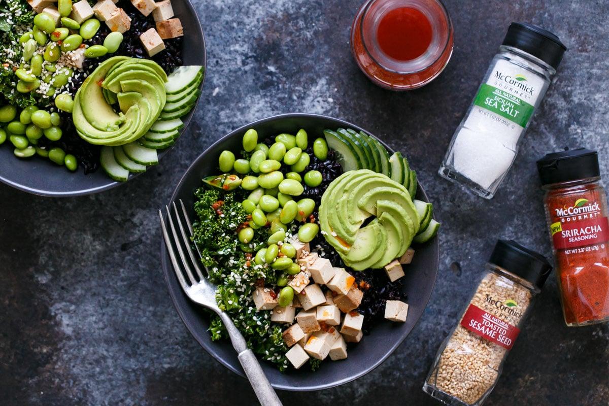 Sesame Sriracha Buddha Bowls with Black Rice and Sesame Kale