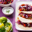 "Mahi Mahi Fish Tacos with Tangy Red Cabbage ""Slawsa"" and Cilantro-Lime Sour Cream"