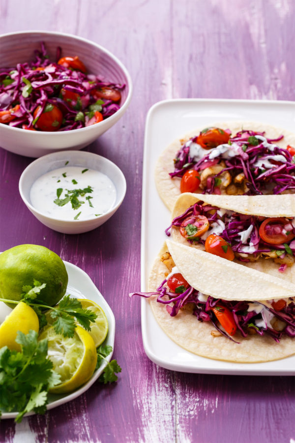 """Mahi Mahi Fish Tacos with Tangy Red Cabbage """"Slawsa"""" and Cilantro-Lime Sour Cream"""