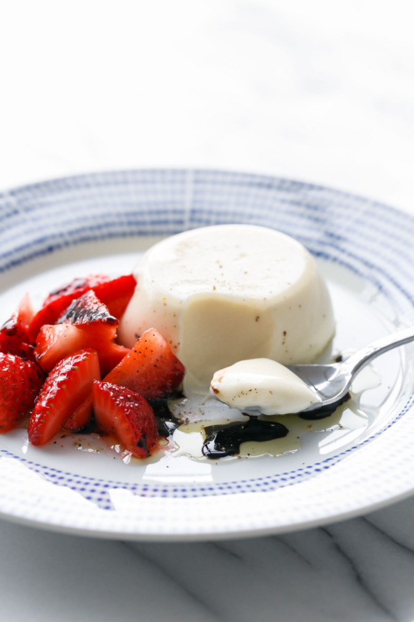 Bay Leaf Panna Cotta with Strawberries and Balsamic vinegar