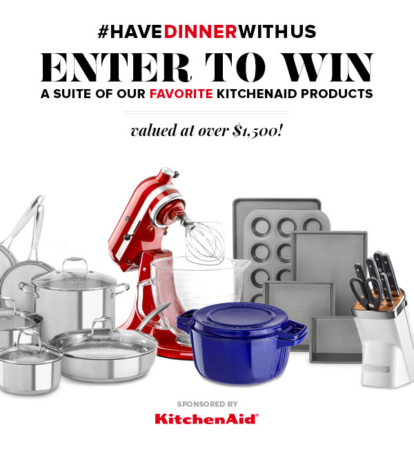 Enter the KitchenAid #HaveDinnerWithUs giveaway for your chance to win a prize pack valued at over $1,500!