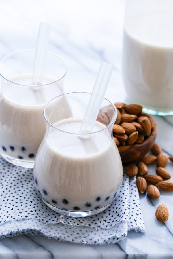 Horchata Boba with homemade almond & rice horchata and tapioca pearls