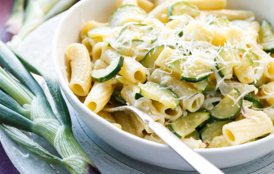 Creamy Spring Onion and Zucchini Rigatoni