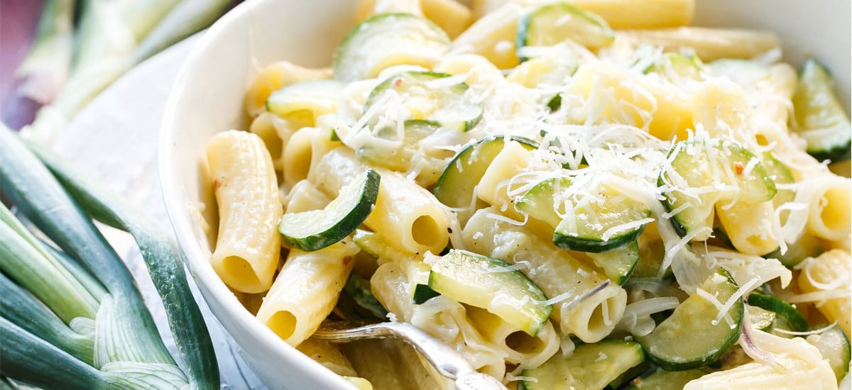 Spring Onion and Zucchini Rigatoni