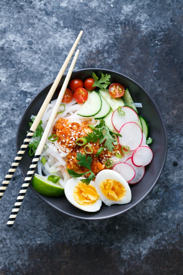 Cold Spicy Kimchi Noodles with Soft-Boiled Eggs