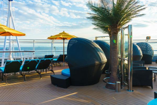 Carnival Vista Mediterranean Cruise: Serenity Deck at Sunset