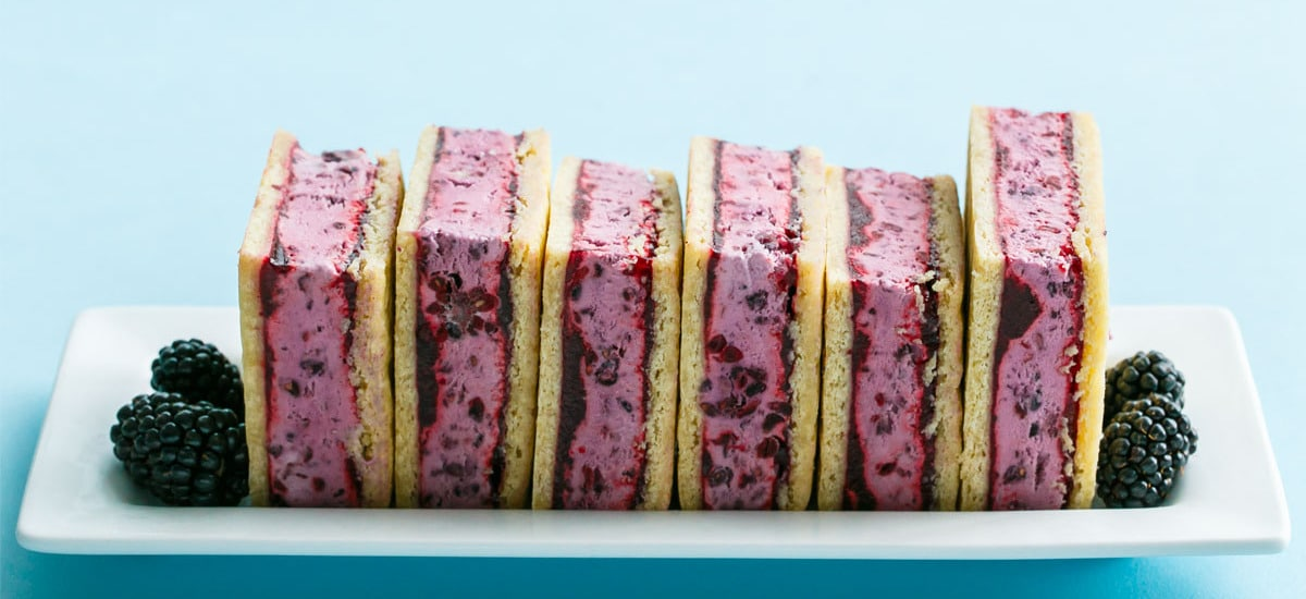 Blackberry Buttermilk Ice Cream Sandwiches