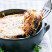 Single-Serving Eggplant Parmesan, baked not fried and full of melty mozzarella cheese