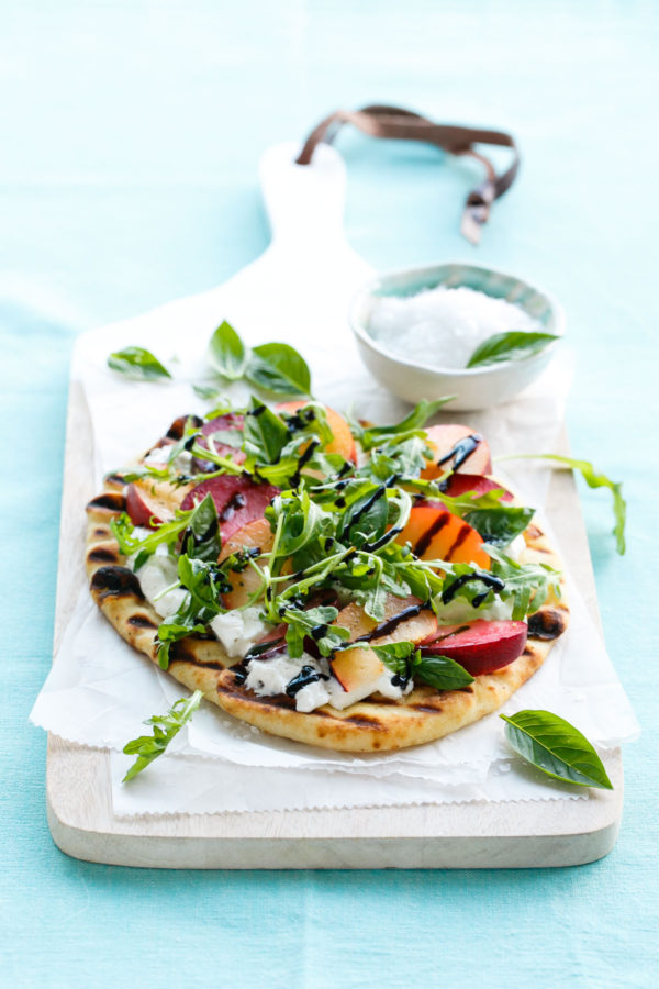 Plum and Burrata Flatbread with Basil, Arugula, and Balsamic Glaze