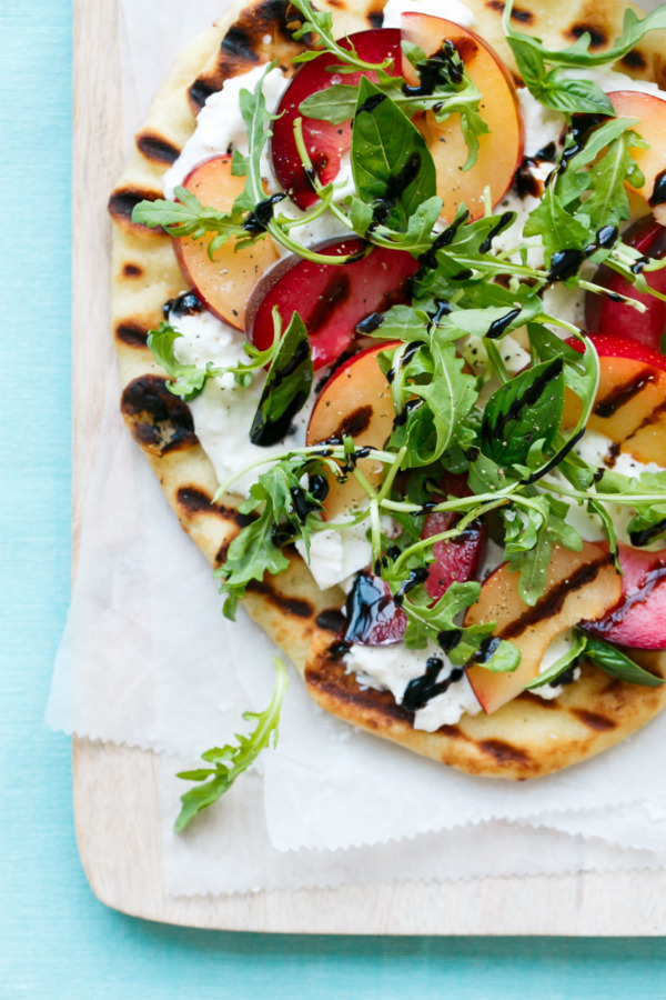 Plum and Burrata Flatbread with Arugula and Balsamic Glaze