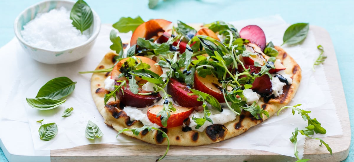 Plum & Burrata Flatbread with Balsamic and Arugula