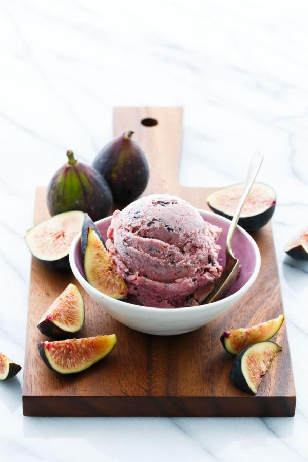 Fresh Fig Ice Cream with Chocolate Shards