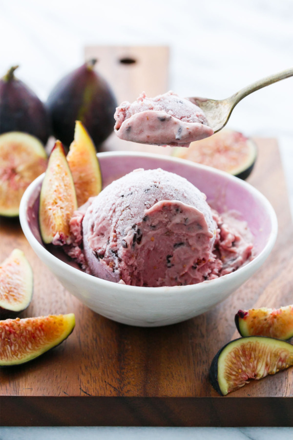Fresh Fig Ice Cream with Chocolate Flecks