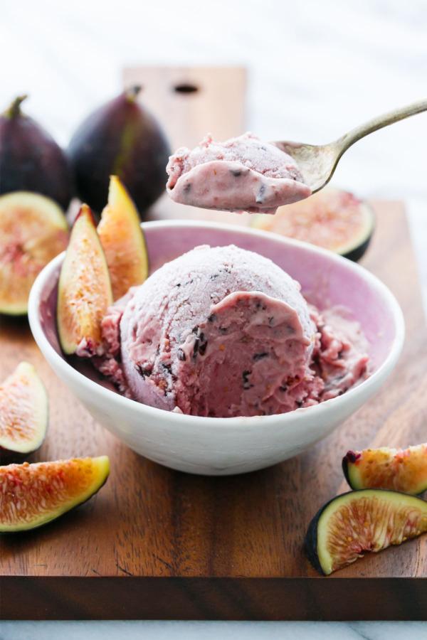 Fresh Fig Ice Cream with Chocolate Flecks