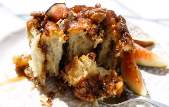 Fig Sticky Buns with Fresh Fig & Caramel Glaze
