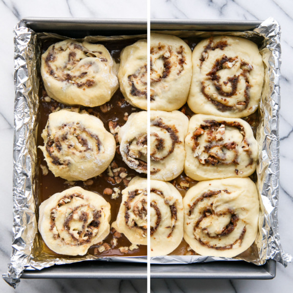 Making Sticky Buns: Before/After Rising