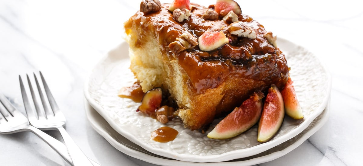 Fig Sticky Buns with Caramel Glaze