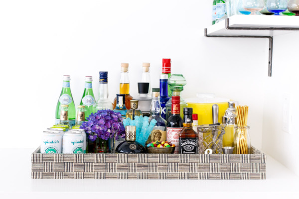 Townhouse Kitchen Remodel: Living Room Bar Tray, stocked and loaded.