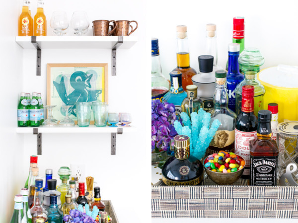 Townhouse Kitchen Remodel: Living Room Bar Area, stocked and loaded.