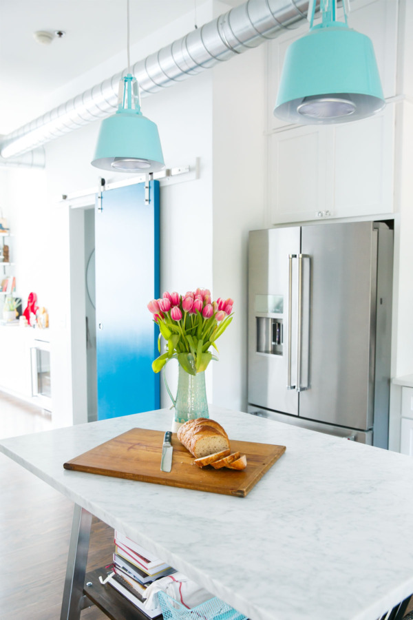 Townhouse Kitchen Remodel: White, marble, and shades of blue.