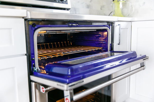 Townhouse Kitchen Remodel: I love the blue interior of the KitchenAid electric double oven.