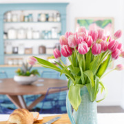 Townhouse Kitchen Remodel: Fresh tulips to brighten up the space.