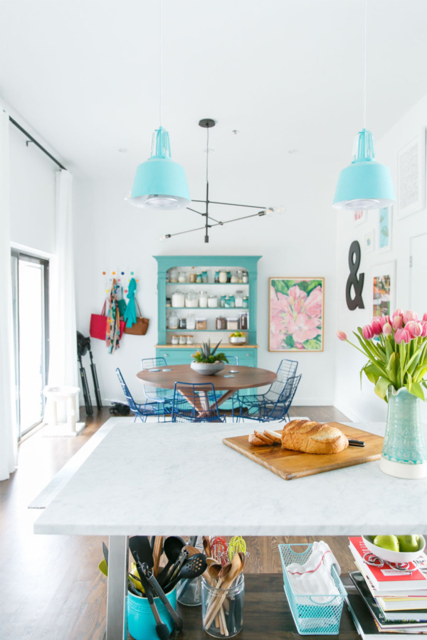 Townhouse Kitchen Remodel: White with pops of color.