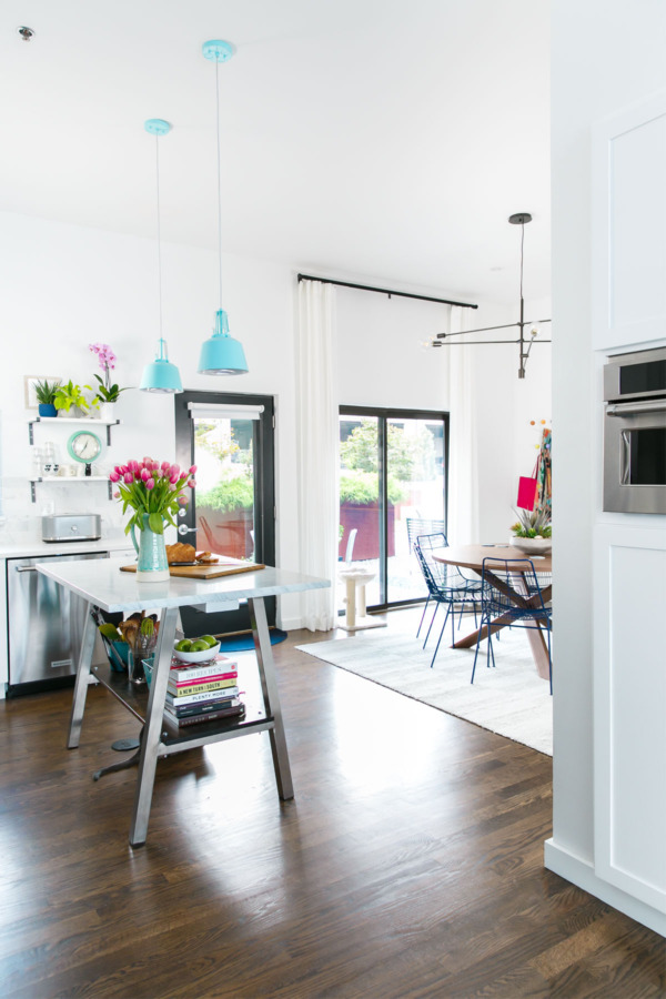 townhouse kitchen remodel white with pops of color and a cat - Townhouse Kitchen Remodel