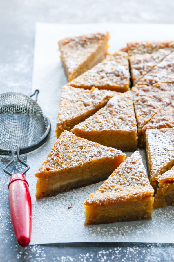 Pumpkin meets Chess Pie in this holiday pie bar recipe