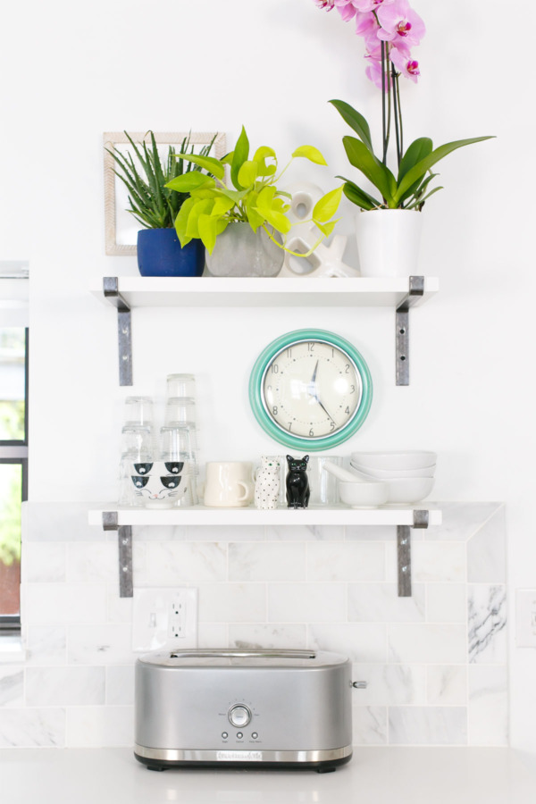Industrial Wall Brackets and White Open Shelves from Rejuvenation