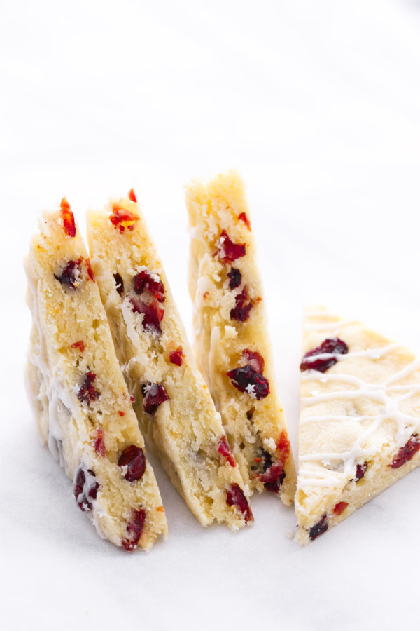 Glazed Cranberry Orange Almond Shortbread Bars