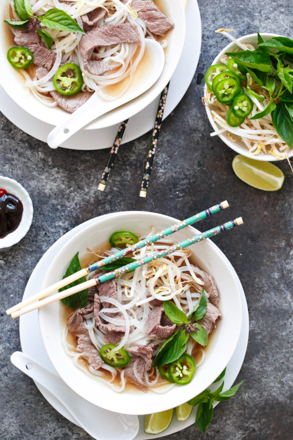 Quick Beef Pho with bean sprouts and thai basil