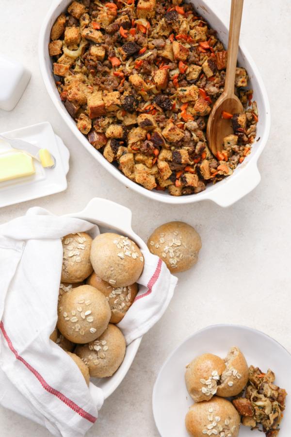 Italian Sausage & Caramelized Fennel Stuffing and Oat & Honey Multi-Grain Dinner Rolls