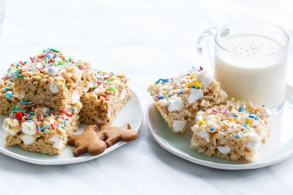 Christmas Gingerbread & Eggnog Rice Krispies Treats
