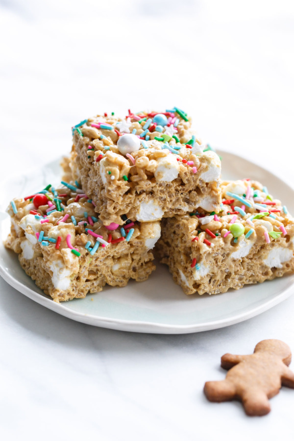 Holiday Gingerbread Rice Krispie Treats