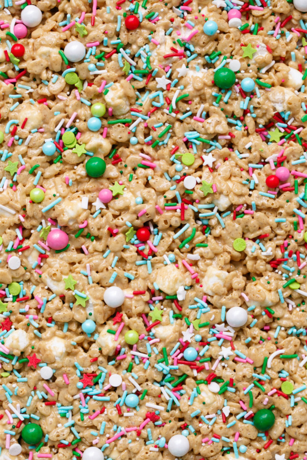 Festive Gingerbread Rice Krispie Treats with Christmas Sprinkles