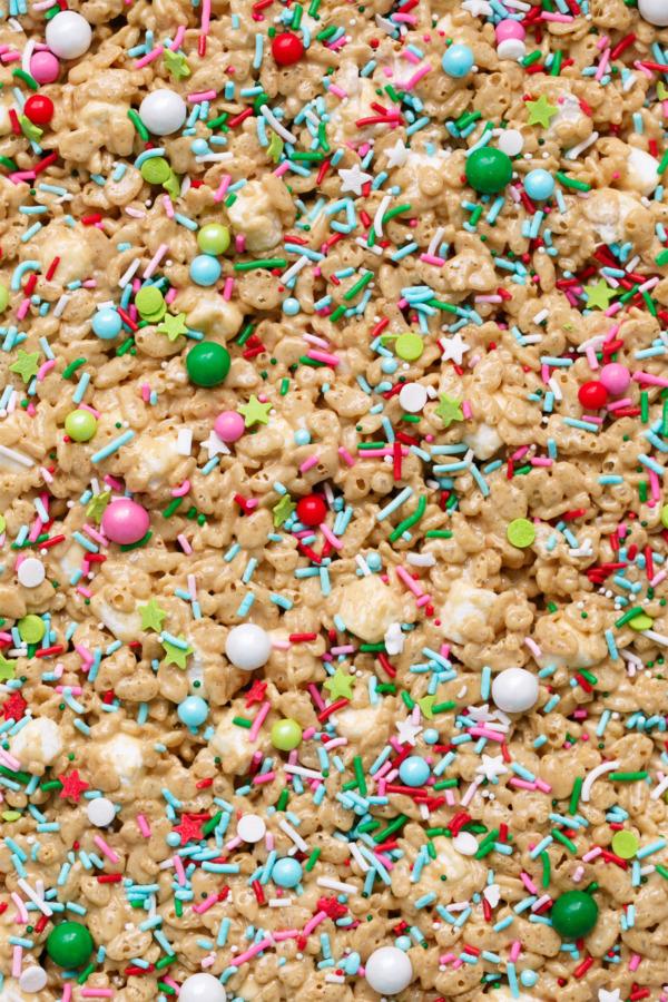 Festive Gingerbread Rice Krispie Treats with Christmas Sprinkles