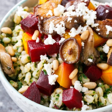 Beet & Barley Bowls with Beet Green Pesto