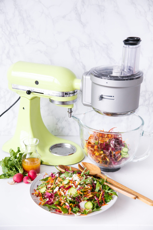 Rainbow Farro Salad using the KitchenAid Food Processor Attachment