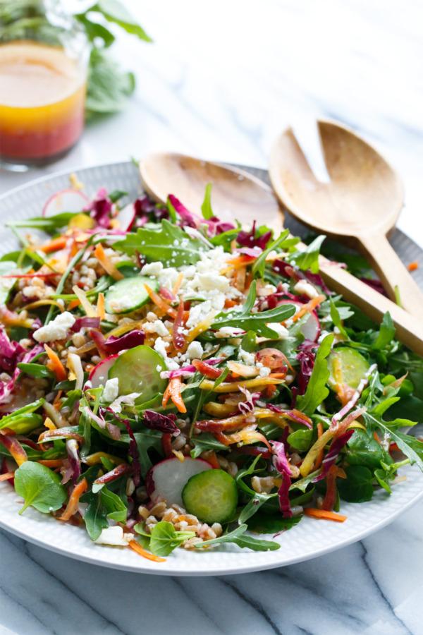 Rainbow Farro Salad with Blood Orange Vinaigrette