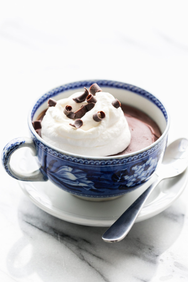 Bittersweet Chocolate Budino with Fresh Whipped Cream