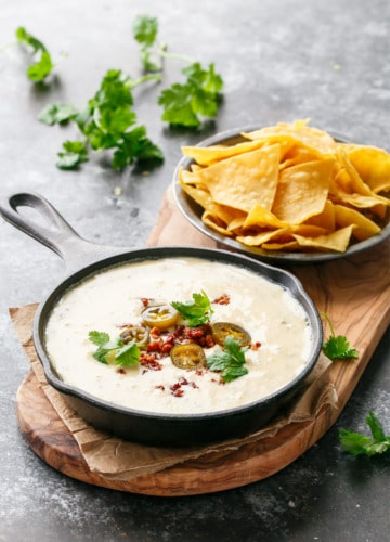 Spicy White Queso with Chorizo and Pickled Jalapenos