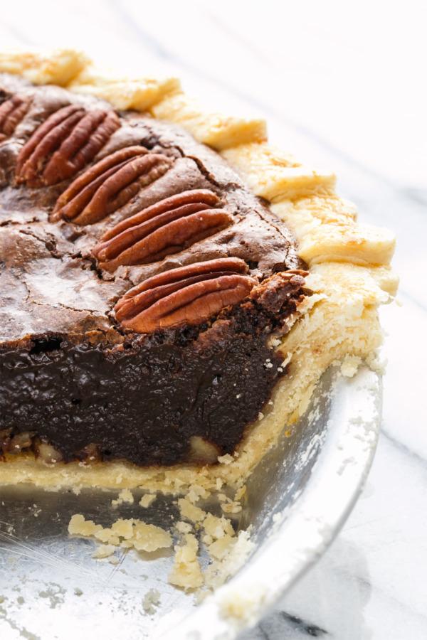 Chocolate Fudge Pecan Pie with the Best Flaky Homemade Pie Crust