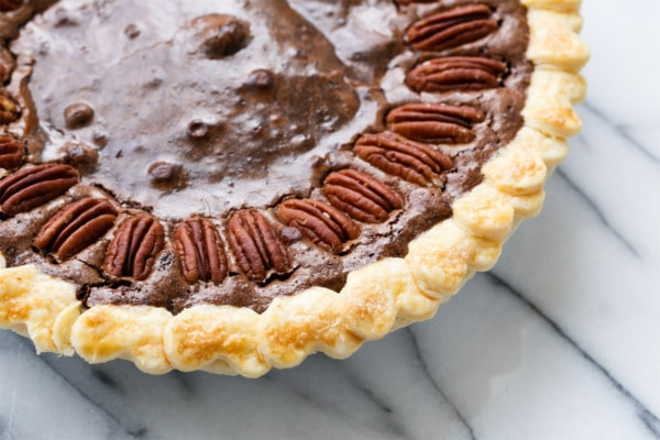 Chocolate Fudge Pecan Pie wtih decorative heart cut-out crust