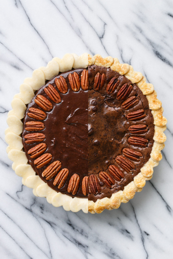 Before & After Baking: Chocolate Fudge Pecan Pie Recipe