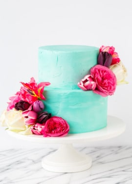 Cinnamon Swirl Layer Cake with fluffy vanilla buttercream