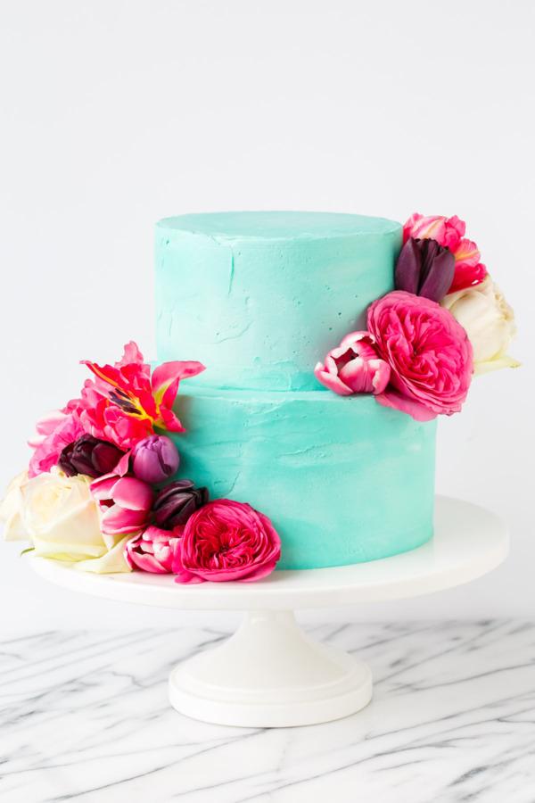 Cinnamon Swirl Layer Cake with fluffy vanilla buttercream