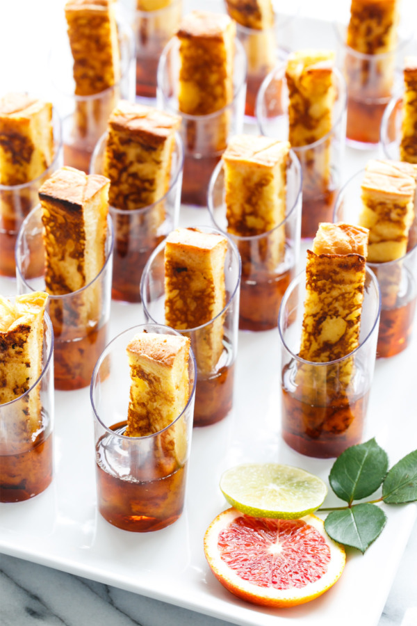 French Toast Sticks in Maple Syrup Shot glasses