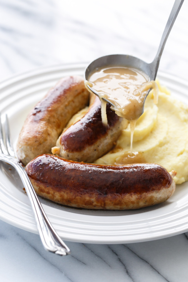 Homemade Chicken Sausages with Onion Gravy - From-Scratch Bangers 'n Mash!